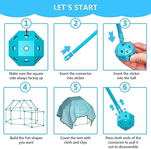 51 vWupnAeS. AC  - IROO Kids Fort Building Kit-150 Pieces DIY Building Castles Tents & Tunnels Toy with Blanket for Boys Girls-5 6 7 8 9 10 11 12 13-Portable Educational Learning Set for Indoor Outdoor Play