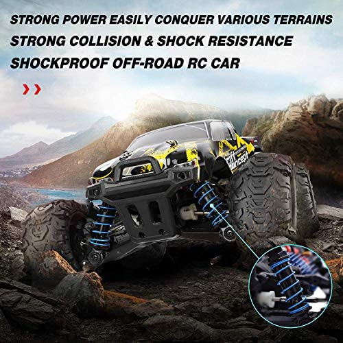 510S4fLQTzL. AC  - 1/18 RC Cars High Speed Remote Control Car for Adults Kids 30+MPH, 4WD Off-Road RC Monster Truck, Fast 2.4GHz All Terrains Toy Trucks Gifts for Boys, with 2 Rechargeable Batteries for 40Min Play