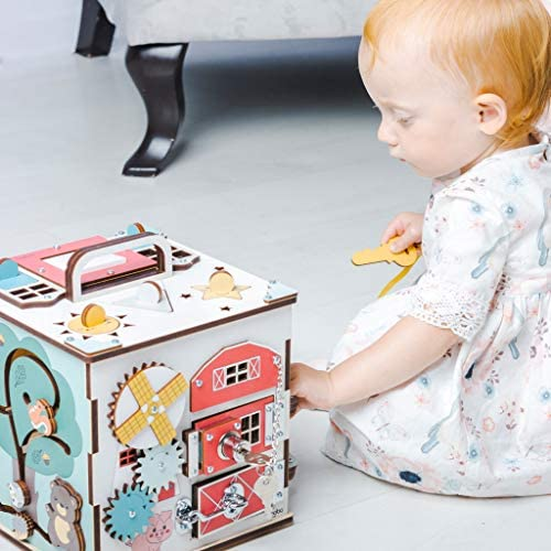 5114da+JukL. AC  - Wooden Activity Cube for 1 Year Old Toddlers - Best-in-Class Wooden Activity Centre, Montessori Baby Learning Toy 20 in 1 - Ideal 1 Year Old Girl and Boy Gifts