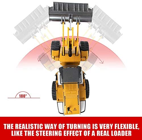 512CAyOXb+L. AC  - TongLi 583 1:14 Scale Metal RC Wheel Loader Toy Construction Trucks Vehicles Remote Control Outdoor Toys Bulldozer for Adults 2.4Ghz Powerful Upgraded with LED Lights and Simulation Sound