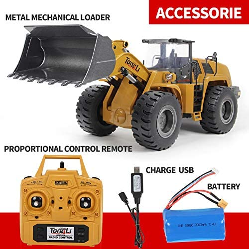 512W45v NUL. AC  - TongLi 583 1:14 Scale Metal RC Wheel Loader Toy Construction Trucks Vehicles Remote Control Outdoor Toys Bulldozer for Adults 2.4Ghz Powerful Upgraded with LED Lights and Simulation Sound
