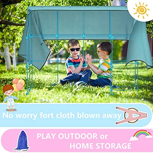 514DWZ3c5SS. AC  - IROO Kids Fort Building Kit-150 Pieces DIY Building Castles Tents & Tunnels Toy with Blanket for Boys Girls-5 6 7 8 9 10 11 12 13-Portable Educational Learning Set for Indoor Outdoor Play