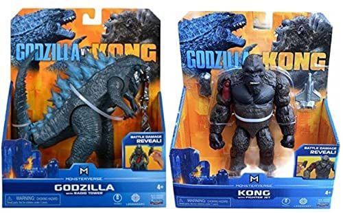 """514U0rZ0FyS. AC  - Godzilla vs. Kong 2021 Bundle of 2 Monsterverse Movie Series 6"""" Action Figures Godzilla with Radio Tower and King Kong with Fighter Jet"""