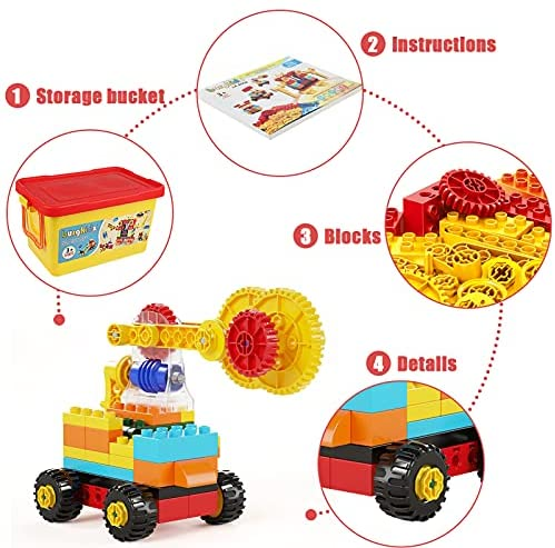 514kVH2aDwS. AC  - burgkidz Gear Building Blocks Creative STEM Toys Learning Educational Engineering Construction Building Toys Set with Storage Box, 174 Piece Gears Building Set Gifts for Boys Girls