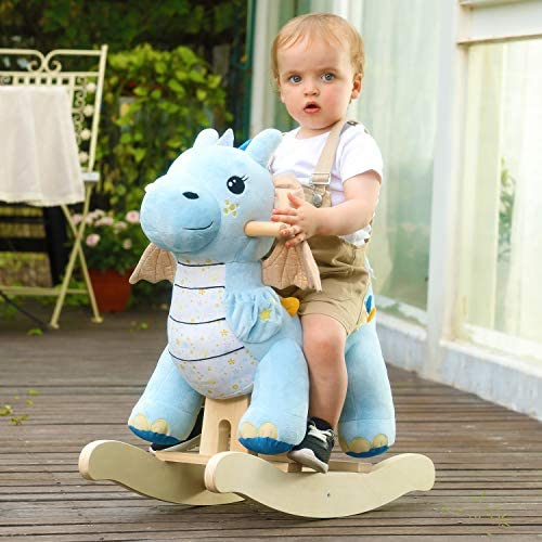515BBA 9+VL. AC  - labebe - Baby Rocking Horse, Child Blue Winged Dragon Rocker, Toddler Ride on Toys for Kid 1-3 Years Old, Wooden Rocking Chair Animal for Girl&Boy