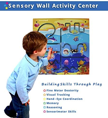 517XgODWjeL. AC  - Ocean Adventure Wall Toy Activity Center – Sensory Busy Board for Fine Motor Skills - Mounted Wall Decor for Toddlers & Kids Bedrooms, Playrooms, Doctor's Offices & Daycare - Gift for Boys & Girls