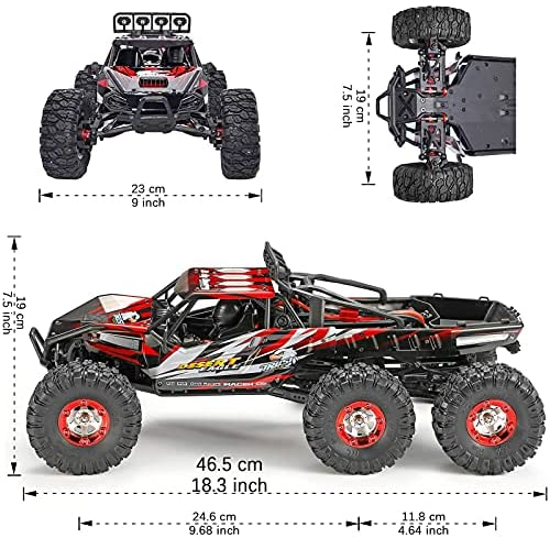 519YE38MHnS. AC  - 1:12 Scale Large RC Cars Truck 60+kmh High Speed for Adults and Kids,6x6 2.4GHz Radio Road Monster All Terrain Electric Remote Control Offroad Car with Two Rechargeable Batteries.