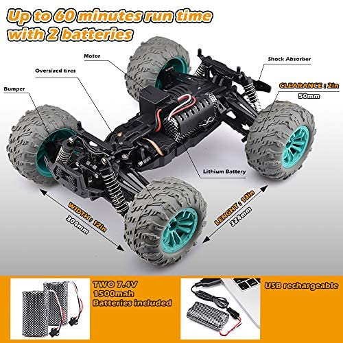 519gZ92tnwL. AC  - Remote Control Car, 1:14 Scale Christmas Large RC Cars 36 KM/H Speed 4WD Off Road Monster Trucks, All Terrain Electric Toy Trucks for Adults & Boys 8-12 - 2 Batteries for 60+ Min Play