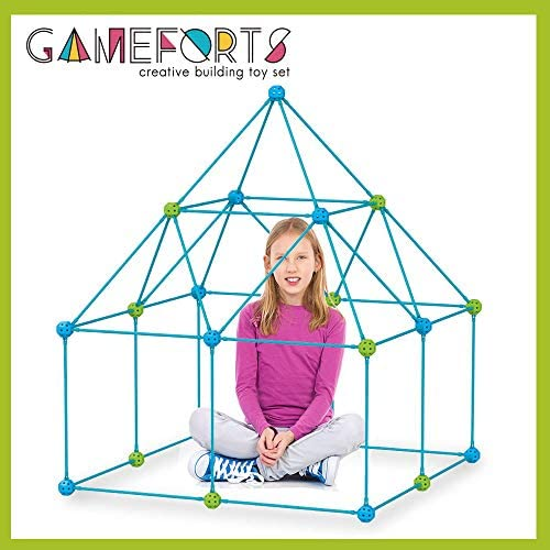 51AISefte0L. AC  - Fort Building Kit Toys for Kids - 270 Pieces DIY Fun Build for Girls and Boys Construction Tents Great Tunnels Creative Gift Set (270 Pieces)
