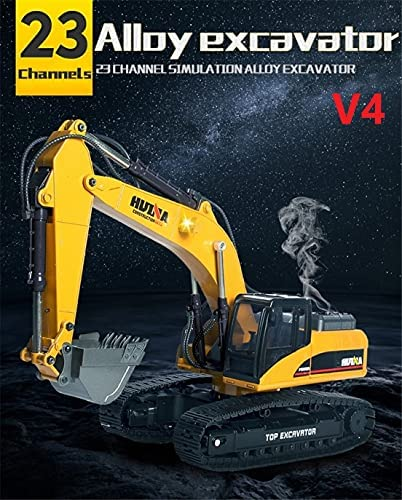 51B7Zqn3D0S. AC  - HUINA 1580 V4 Full Metal RC Excavator 23 Channel 2.4GHz Digger Construction Vehicle Hobby Professional Grade Remote Control Tractor Toy Smoke LED Lights and Sounds - 2 Rechargeable Batteries