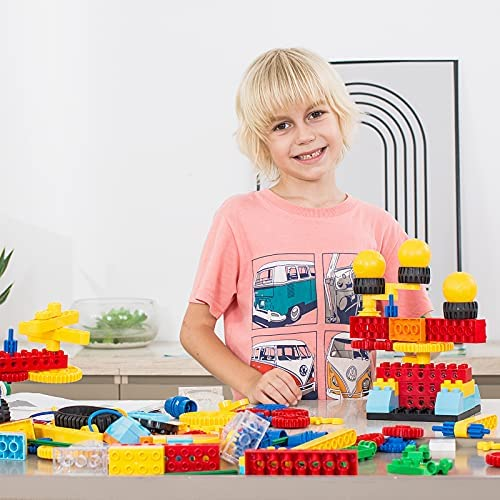 51BaIYPXfrS. AC  - burgkidz Gear Building Blocks Creative STEM Toys Learning Educational Engineering Construction Building Toys Set with Storage Box, 174 Piece Gears Building Set Gifts for Boys Girls