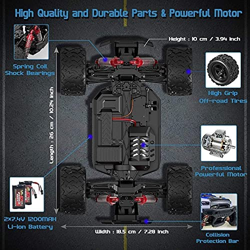 51Bz75Nol3S. AC  - Remote Control Truck for Boys 45KM/H 1:18 Scale RC Truck 4WD All Terrain Off Road Fast RC Car with 2 Rechargeable1200mAh Batteries for 60 Min Run Time, 2.4Ghz Remote Control Car Gift for Adults Girls