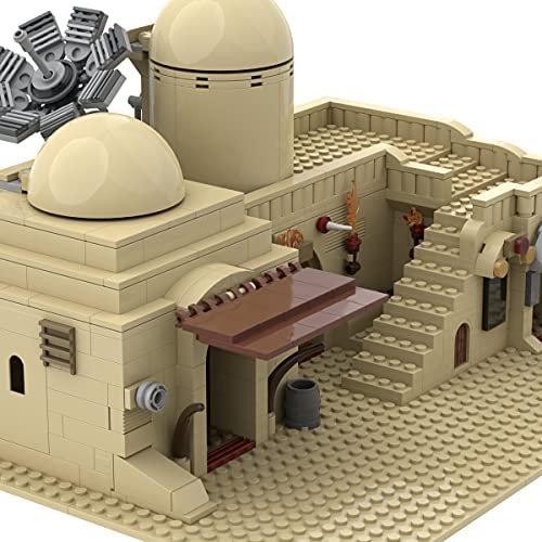 51BzA5uPnNS. AC  - Tatooine Double Building (Slums) TAT02 Building Kit for for Boys,Building Blocks MOC Model Toy Building Sets Creative Valentines Day Gifts for Him(636 Pieces) (A)
