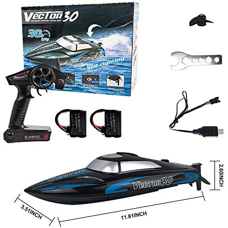 51CkX+dJTWL. AC  - RC Boat, 2.4Ghz Remote Control Boat for Pools and Lakes, 4 Channels Fast Racing Boat with 30+KPH Speed Boat Toys for Kids and Adults (Blue)