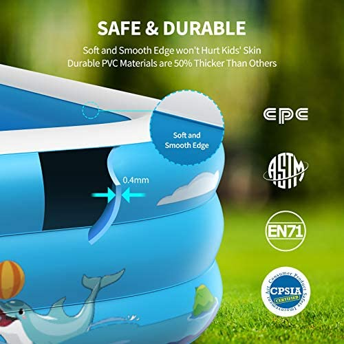 """51CoO02Ca+L. AC  - Inflatable Pool for Kids Family Oxsaml 98"""" x 71"""" x 22 """" Kiddie Pool with Splash, Swimming Pools Above Ground, Backyard, Garden, Summer Water Party"""