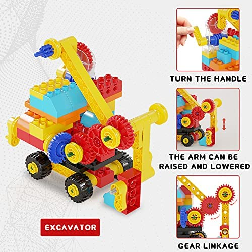 51Cx+UhbFKS. AC  - burgkidz Gear Building Blocks Creative STEM Toys Learning Educational Engineering Construction Building Toys Set with Storage Box, 174 Piece Gears Building Set Gifts for Boys Girls