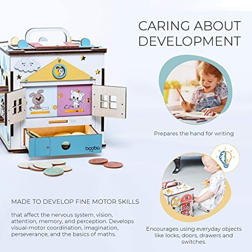 51D9B2ST2aS. AC  - Wooden Activity Cube for 1 Year Old Toddlers - Best-in-Class Wooden Activity Centre, Montessori Baby Learning Toy 20 in 1 - Ideal 1 Year Old Girl and Boy Gifts