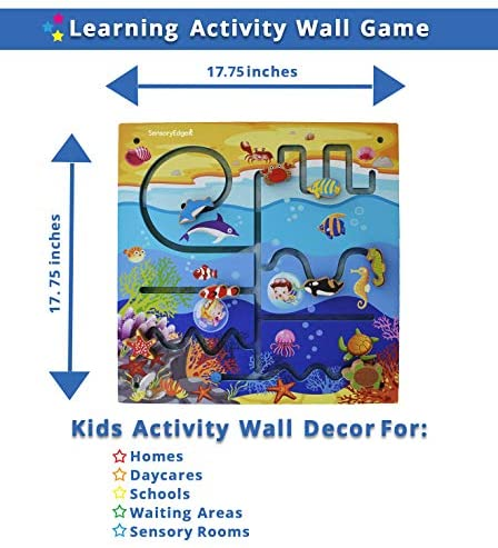 51EufEx2InL. AC  - Ocean Adventure Wall Toy Activity Center – Sensory Busy Board for Fine Motor Skills - Mounted Wall Decor for Toddlers & Kids Bedrooms, Playrooms, Doctor's Offices & Daycare - Gift for Boys & Girls
