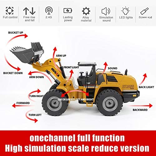 51FrpwU7FnL. AC  - TongLi 583 1:14 Scale Metal RC Wheel Loader Toy Construction Trucks Vehicles Remote Control Outdoor Toys Bulldozer for Adults 2.4Ghz Powerful Upgraded with LED Lights and Simulation Sound