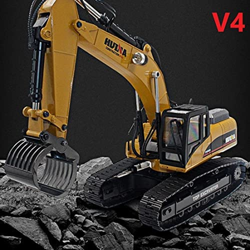 51GKzhPyfZS. AC  - HUINA 1580 V4 Full Metal RC Excavator 23 Channel 2.4GHz Digger Construction Vehicle Hobby Professional Grade Remote Control Tractor Toy Smoke LED Lights and Sounds - 2 Rechargeable Batteries