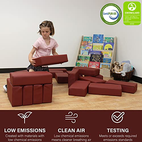51HdDS0GVYS - FDP SoftScape Brick Building Block Set, Stacking Soft Foam Bricks for Toddlers and Kids; Growing Imaginations and Motor Skills (18-Piece) - Burgundy