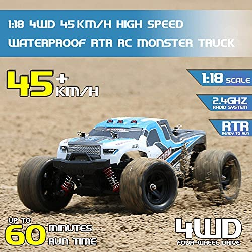 51Idt40NTMS. AC  - Remote Control Truck for Boys 45KM/H 1:18 Scale RC Truck 4WD All Terrain Off Road Fast RC Car with 2 Rechargeable1200mAh Batteries for 60 Min Run Time, 2.4Ghz Remote Control Car Gift for Adults Girls