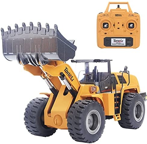 51Ii5qOL3cS. AC  - TongLi 583 1:14 Scale Metal RC Wheel Loader Toy Construction Trucks Vehicles Remote Control Outdoor Toys Bulldozer for Adults 2.4Ghz Powerful Upgraded with LED Lights and Simulation Sound