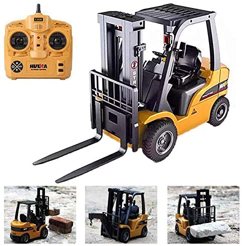 51K+p2SGZfL. AC  - FXQIN Remote Control Forklift Construction Trucks Toys for Kids and Adults 1:10 Scale 8 Channel RC Forklift with LED Lights and Pallet Professional Engineering Vehicle Toys, Yellow