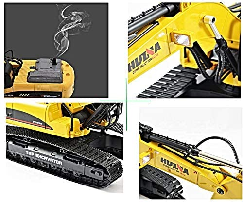 51KX08yFEnL. AC  - HUINA 1580 V4 Full Metal RC Excavator 23 Channel 2.4GHz Digger Construction Vehicle Hobby Professional Grade Remote Control Tractor Toy Smoke LED Lights and Sounds - 2 Rechargeable Batteries