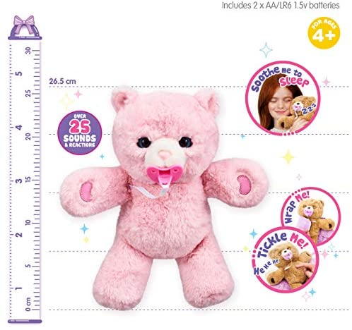 51LUQlWOSEL. AC  - Little Live Pets Cozy Dozy Pinki The Bear - Over 25 Sounds and Reactions | Bedtime Buddies, Blanket and Pacifier Included | Stuffed Animal, Best Nap Time, Interactive Teddy Bear