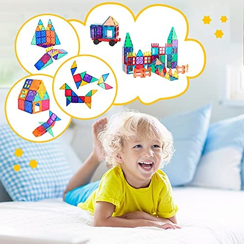 51LWvaqJYWS. AC  - Magnetic Building Blocks Game Toy, 75 Pcs 3D Magnetic Tiles Construction Playboards Kit Develop Kids Imagination, Inspiration and Fine Motor Skills in Children Educational Toys for Age 3 - 8 Year-Old