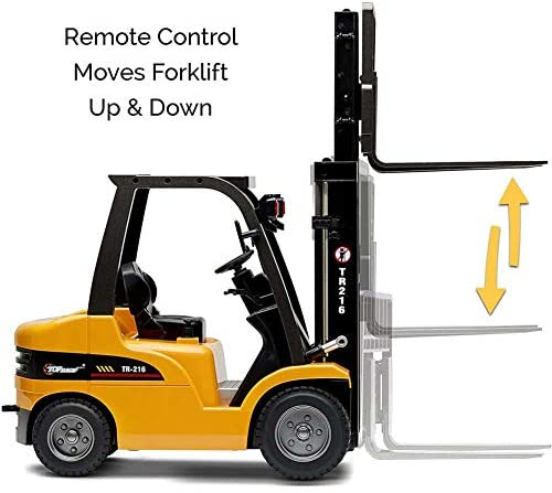 51LWx4+CLuL. AC  - FXQIN Remote Control Forklift Construction Trucks Toys for Kids and Adults 1:10 Scale 8 Channel RC Forklift with LED Lights and Pallet Professional Engineering Vehicle Toys, Yellow