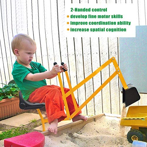 51MKfI8NDyL. AC  - Hand-Mart Kids Ride On Sand Digger, 360° Rotatable Excavator Toy Crane with Base for Sand, Dirt, Snow, Beach, Heavy Duty Steel Digging Toys for Boys Girls, Sandbox Digger for Kids Outdoor