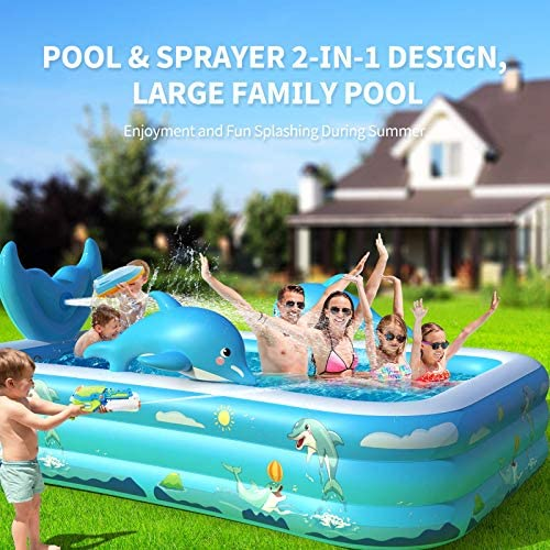 """51Mj5hOHSDL. AC  - Inflatable Pool for Kids Family Oxsaml 98"""" x 71"""" x 22 """" Kiddie Pool with Splash, Swimming Pools Above Ground, Backyard, Garden, Summer Water Party"""