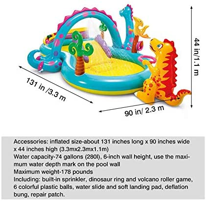 51N4y6JzZ L. AC  - Inflatable Kiddie Pool with Water Slide - 119in X 90in X 44in Dinosaur Inflatable Play Center, Above Ground Pool, Water Slides for Kids Backyard, Kids Pool Outdoor Toys w/ Splash for Ages 2+ Toddler