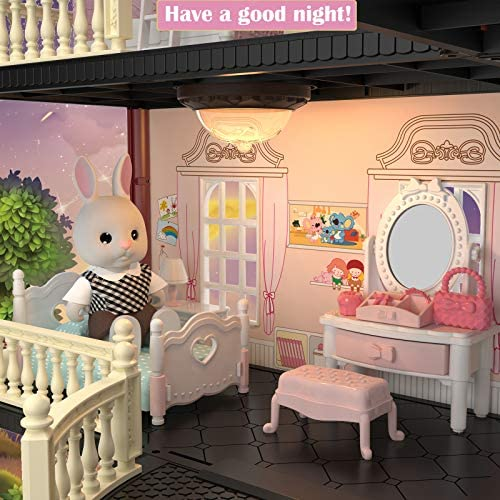 51NArNJ0tYL. AC  - MITCIEN Dollhouse Kit Playset Little Critters Bunny Dolls for Girls with Swimming Pool and Slideside Family Toys for Toddler 3 4 5 6 Year Old Girl