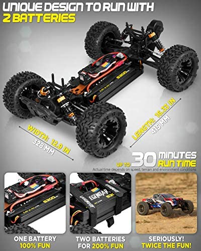 51OM9ShCnnL. AC  - 1:10 Scale Brushless RC Cars 65 km/h Speed - Boys Remote Control Car 4x4 Off Road Monster Truck Electric - All Terrain Waterproof Toys for Kids and Adults - 2 Body Shells + Connector for 30+ Mins Play
