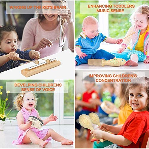 51OlgDxMRDL. AC  - Kids Toddler Musical Instruments, Toddlers 100% Natural Wooden Music Percussion Toy Sets for Childrens Preschool Educational Age3-8 Early Learning, Musical Toys with Bags Boys and Girls