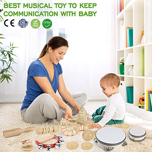 51OpIkuuq L. AC  - Kids Toddler Musical Instruments, Toddlers 100% Natural Wooden Music Percussion Toy Sets for Childrens Preschool Educational Age3-8 Early Learning, Musical Toys with Bags Boys and Girls
