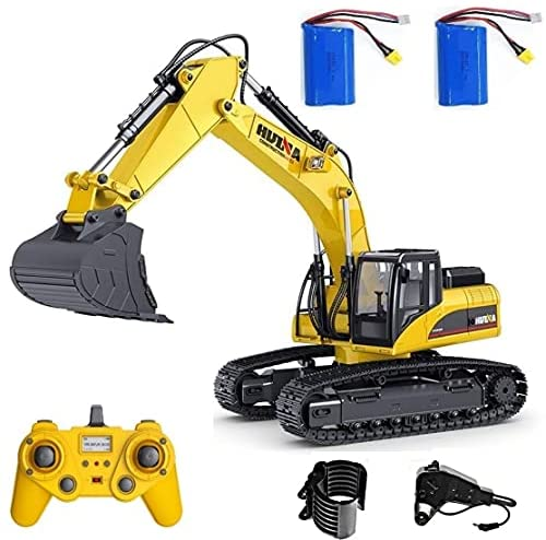 51OpYzOhFES. AC  - HUINA 1580 V4 Full Metal RC Excavator 23 Channel 2.4GHz Digger Construction Vehicle Hobby Professional Grade Remote Control Tractor Toy Smoke LED Lights and Sounds - 2 Rechargeable Batteries