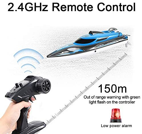 51P+DF30dBL. AC  - HONGXUNJIE 2.4Ghz High Speed RC Boat-HJ808 18mph Remote Control Racing Boat for Kids and Adults for Lakes and Pools with Double Batteries Double Charger Cables (Blue)