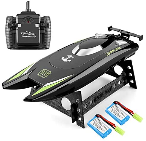 51P2DTTxXQL. AC  - RC Boat 2.4Hz Remote Control Boats for Kids and Adults 20+ MPH High Speed Ship Dual Motors Self-Righting Racing Boat Pools and Lakes Toys for 6 7 8 Year Old Boys Gifts (Black)