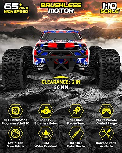 51PyHbo6ciS. AC  - 1:10 Scale Brushless RC Cars 65 km/h Speed - Boys Remote Control Car 4x4 Off Road Monster Truck Electric - All Terrain Waterproof Toys for Kids and Adults - 2 Body Shells + Connector for 30+ Mins Play