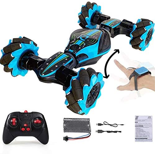 51Pysf+P44L. AC  - Boxgear Gesture Sensing RC Stunt Car with Off-Road, Four-Wheel Drive, Sports Mode, 40 Min Standby Suitable for Any Terrain, 2.4G Gesture Controlled Double-Sided Remote-Control Car Toy for Kids, Blue