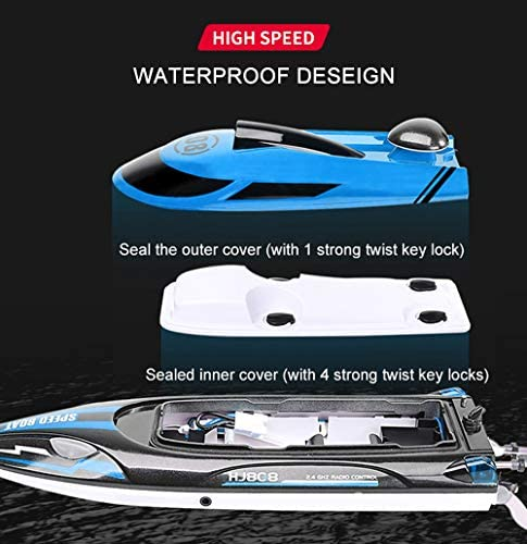 51QsPSBZP6L. AC  - HONGXUNJIE 2.4Ghz High Speed RC Boat-HJ808 18mph Remote Control Racing Boat for Kids and Adults for Lakes and Pools with Double Batteries Double Charger Cables (Blue)