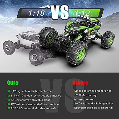 51RSwckMoeS. AC  - DEVIVAE RC Cars 2059 Remote Control Car for Adults Kids, 1:12 Scale 15Km/h All Terrain Monster Trucks 4WD Off-Road 2.4GHz Rock Crawler with 80Mins Play, Vehicle Toy Ideal Gift for 6 7 8 9 10 Boy Girl