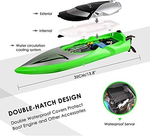51Rh+LRcrRS. AC  - RC Boat [Upgraded 2021] - SHARKOOL 2.4 GHZ 25+ MPH Remote Control Boat, Fast RC Boats for Adults and Kids, Remote Controlled Boat for Pools and Lakes with 2 Rechargeable Batteries