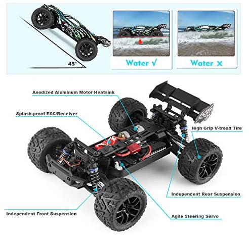 51S3hmhmPwL. AC  - HAIBOXING RC Cars Hailstorm, 36+KM/H High Speed 4WD 1:18 Scale Electric Waterproof Truggy Remote Control Off Road Monster Truck with Two Rechargeable Batteries, RTR ALL Terrain Toys for Kids and Adult