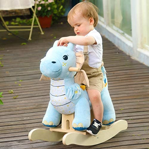 51SCzZYF79L. AC  - labebe - Baby Rocking Horse, Child Blue Winged Dragon Rocker, Toddler Ride on Toys for Kid 1-3 Years Old, Wooden Rocking Chair Animal for Girl&Boy