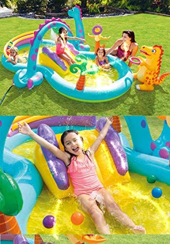 51SVyzDnr5L. AC  - Inflatable Kiddie Pool with Water Slide - 119in X 90in X 44in Dinosaur Inflatable Play Center, Above Ground Pool, Water Slides for Kids Backyard, Kids Pool Outdoor Toys w/ Splash for Ages 2+ Toddler
